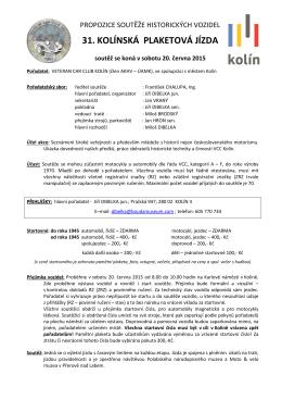 Soutěž 2015 - propozice - Veteran Car CLub Kolín
