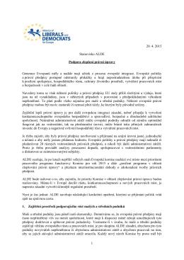 Iniciativa ALDE pro lepší regulaci