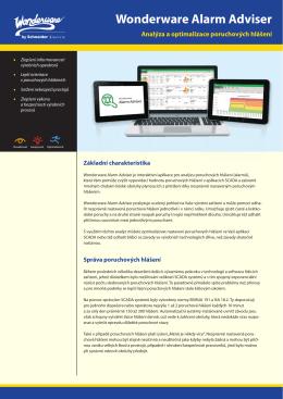 Údaje o produktu Wonderware Alarm Adviser