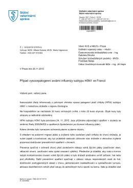 Případ vysocepatogenní aviární influenzy subtypu H5N1 ve Francii