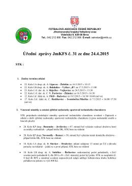 Úřední zprávy JmKFS č. 31 ze dne 24.4.2015