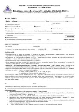 Přihláška do zájmového útvaru (ZÚ) – děti, žáci pro šk.rok 2015/16
