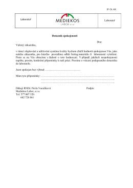 Dotazník spokojenosti - Mediekos Labor, s.r.o.