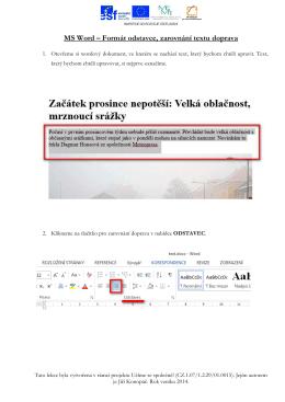 MS Word – Formát odstavce, zarovnání textu doprava