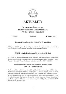 Aktuality č. 2/2015 - Společnost pro církevní právo