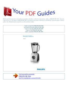 Upute za uporabu PHILIPS HR 2084