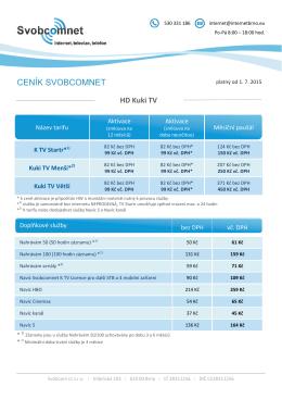 Ceník služby HD TV