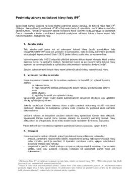 Podmínky záruky na tiskové hlavy řady iPF1