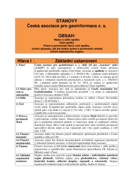 STANOVY Česká asociace pro geoinformace z. s. OBSAH: Hlava I
