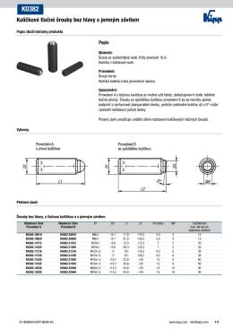 Datový list K0382 Kuličkové tlačné šrouby bez hlavy s jemným závitem
