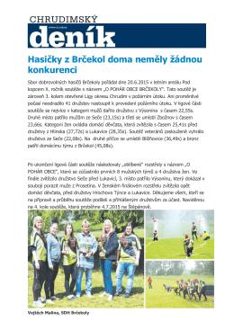 Hasičky z Brčekol doma neměly žádnou konkurenci r.2015
