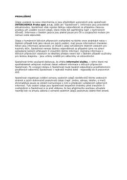 PROHLÁŠENÍ - copyright & osobní údaje