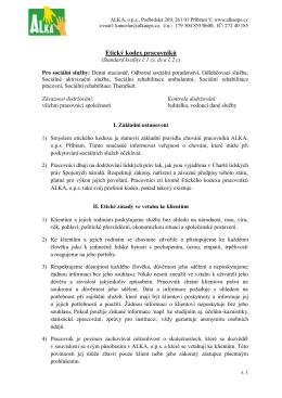 Etický kodex pracovníků ALKA, o.p.s