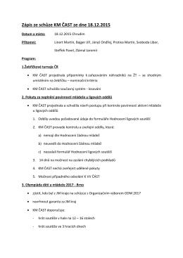 Zápis ze schůze KM ČAST ze dne 18.12.2015