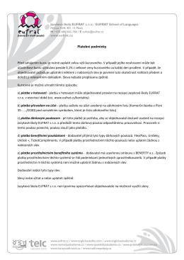 Platební podmínky - Jazyková škola Eufrat