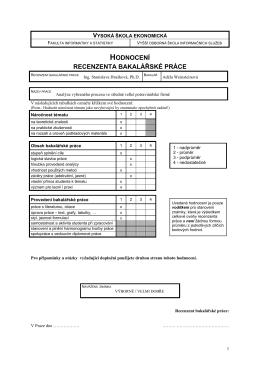 hodnocení recenzenta bakalářské práce