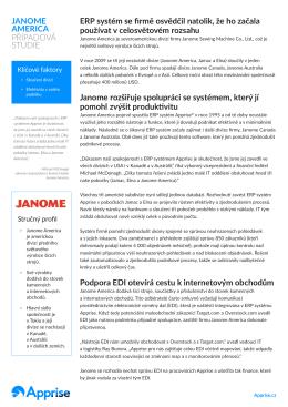 JANOME AMERICA PŘÍPADOVÁ STUDIE ERP systém se firmě