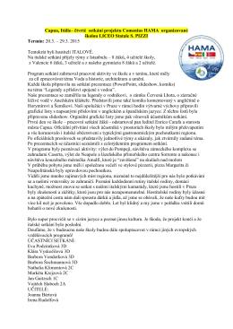Capua, Itálie– čtvrté setkání projektu Comenius HAMA