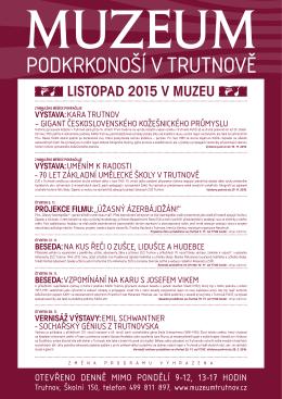 LISTOPAD 2015 V MUZEU - Muzeum Podkrkonoší v Trutnově