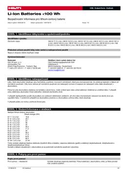 PDF Bezpečnostní list LI-ION-BATTERIES 100Wh (CS)