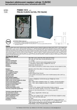 Impulsní zálohované napájecí zdroje 13,8V/DC