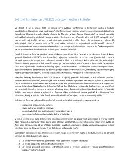 Konference OSN o turistice a kultuře 2015