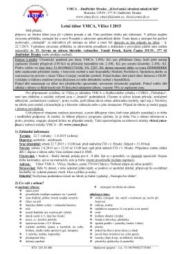 Průvodní dopis a informace k LT Vlčice I 2015