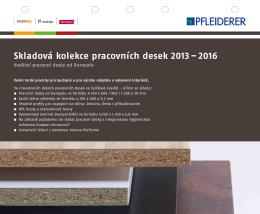 Skladová kolekce pracovních desek 2013 – 2016