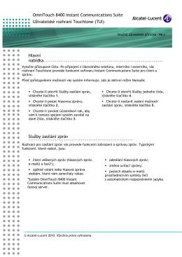 Hlavní Služby zasílání zpráv - Alcatel