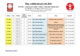 Plán vzdělávání pro rok 2016