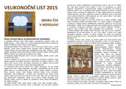 VELIKONOČNÍ LIST 2015