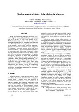 Aktuálne poznatky o hliníku v úlohe vakcínového adjuvantu
