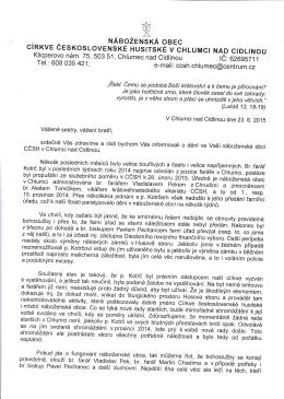 Pastorační dopis 23.6.2015 - Pek, Tomčík - cirkev