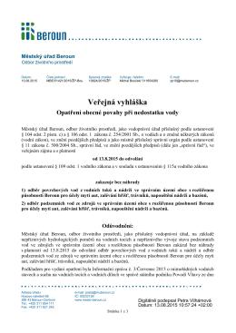 Veřejná vyhláška - Opatření obecné povahy při nedostatku vody
