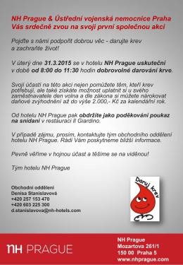 NH Prague & Ústřední vojenská nemocnice Praha Vás srdečně