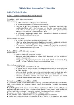 Vnitřní řád školní družiny - Stránky Základní školy v Domažlicích