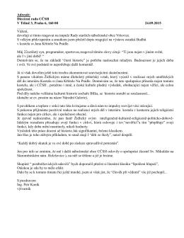 Adresát: Diecézní rada CČSH V Tišině 3, Praha 6, 160 00 24.09.2015