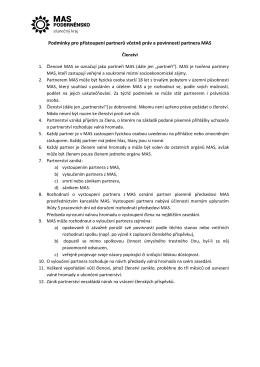 Podmínky pro přistoupení partnerů včetně práv a povinností