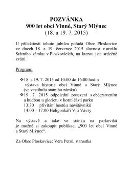 POZVÁNKA 900 let obcí Vinné, Starý Mlýnec (18. a 19. 7. 2015)