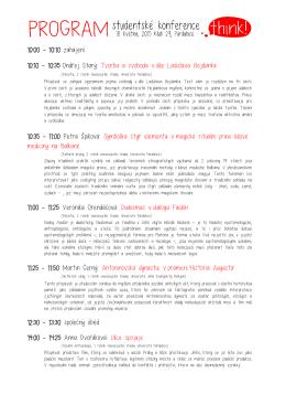 10:00 - 10:10 zahájení 10:10 - 10:35 Ondřej Starý: Tvorba a