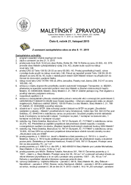 Maletínský zpravodaj číslo 6, ročník 21, listopad 2015