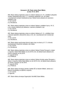 Usnesení z 28. zasedání Rady města Staré Město ze dne 14.12. 2015