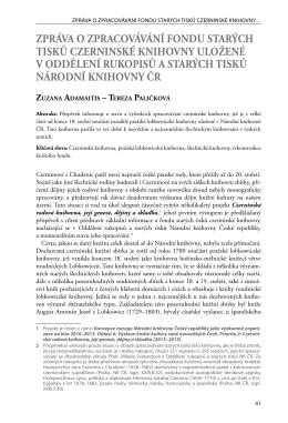 zPráVa o zPracoVáVání fonDu StarÝch tiSkŮ czerninSké knihoVny