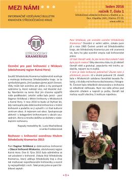 bulletin Mezi námi 2016 - Středočeská vědecká knihovna v Kladně