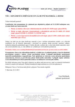 Oznamujeme změny cen plechových materiálů - KOVO