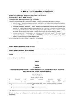 Dohoda o výkonu pěstounské péče