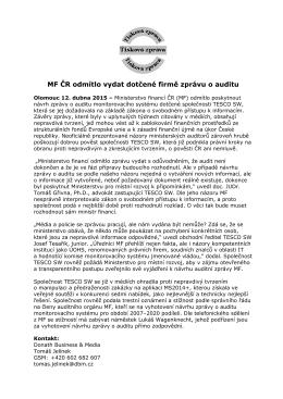 MF ČR odmítlo vydat dotčené firmě zprávu o auditu