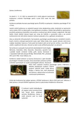 Zpráva z konference - Asociace psychologů sportu
