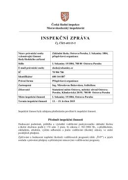 INSPEKČNÍ ZPRÁVA - Základní škola, Ostrava – Poruba, I. Sekaniny