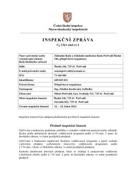 INSPEKČNÍ ZPRÁVA - ZŠ a ZUŠ Petřvald Školní 246 po